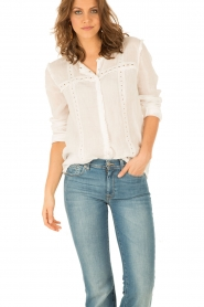 Hoss Intropia | Linnen blouse Olivia | wit  | Afbeelding 2