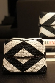 Little Soho Living |  Rattan basket with beads James - medium | black & white  | Picture 3
