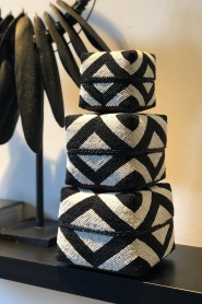 Little Soho Living |  Set of 3 rattan boxes with beads Maddox | black & white  | Picture 3