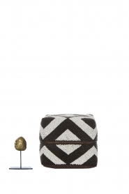 Little Soho Living |  Set of 3 rattan boxes with beads Maddox | black & white  | Picture 5