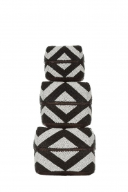 Little Soho Living |  Set of 3 rattan boxes with beads Maddox | black & white  | Picture 1