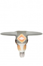 Little Soho Living |  Hand-painted wooden buffalo mask Jess | grey/orange  | Picture 2