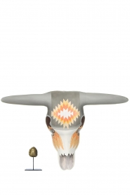 Little Soho Living |  Hand-painted wooden buffalo mask Jess | grey/orange  | Picture 3