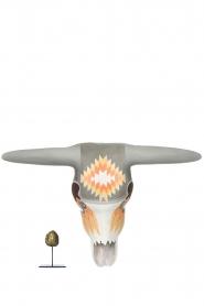 Little Soho Living | Handbeschilderd houten buffelmasker Jess | grijs/oranje  | Afbeelding 3