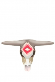 Little Soho Living |  Hand-painted wooden buffalo mask Jay | grey/pink  | Picture 2