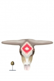 Little Soho Living |  Hand-painted wooden buffalo mask Jay | grey/pink  | Picture 3