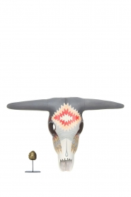 Little Soho Living |  Hand-painted wooden buffalo mask Josh | grey/red  | Picture 3