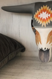 Little Soho Living |  Hand-painted wooden buffalo mask Josh | grey/red  | Picture 2