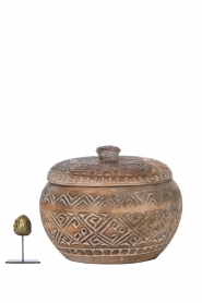 Little Soho Living |  Hand carved wooden pot Mason | brown  | Picture 3