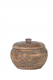Little Soho Living |  Hand carved wooden pot Mason | brown  | Picture 1