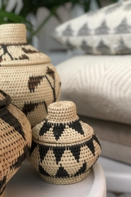 Little Soho Living |  Printed rattan basket Pippa - extra small | black & white  | Picture 3