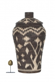 Little Soho Living |  Printed rattan basket Jada - tall | black & white  | Picture 3