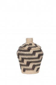 Little Soho Living |  Printed rattan basket Jenna - small | black&white  | Picture 1