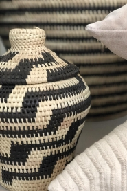 Little Soho Living |  Printed rattan basket Jenna - small | black&white  | Picture 2