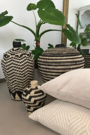 Little Soho Living |  Printed rattan basket Jenna - small | black&white  | Picture 3