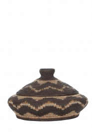 Little Soho Living |  Zigzag printed rattan basket June - low | brown  | Picture 1