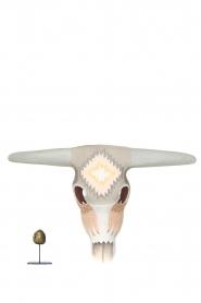 Little Soho Living | Handbeschilderd houten buffelmasker Jeff | grijs/lichroze  | Afbeelding 3