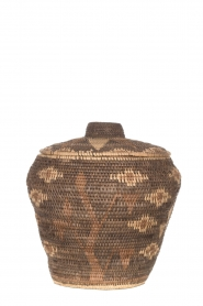 Little Soho Living |  Printed rattan basket Lizzy - medium | brown  | Picture 2