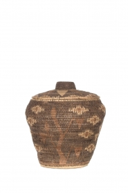 Little Soho Living |  Printed rattan basket Lizzy - medium | brown  | Picture 1