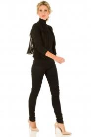 Suède jasje met franjes Benji | zwart