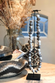 Little Soho Living |  Wooden bead necklace on a stand Austin | brown  | Picture 2
