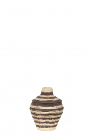 Little Soho Living |  Striped rattan basket Charlie - small | black & white  | Picture 1