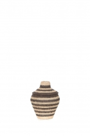 Little Soho Living |  Striped rattan basket Charlie - small | black & white  | Picture 2