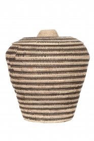 Little Soho Living |  Striped rattan basket Emily - extra large | black & white  | Picture 1