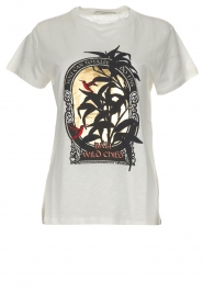 Munthe | Katoenen T-shirt met opdruk Aqua | wit  | Afbeelding 1