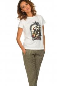 Munthe | Katoenen T-shirt met opdruk Aqua | wit  | Afbeelding 2