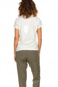 Munthe | Katoenen T-shirt met opdruk Aqua | wit  | Afbeelding 5