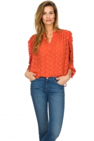 Munthe    Blouse with dots Annie   orange    Picture 2