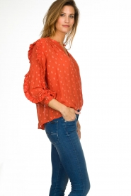 Munthe    Blouse with dots Annie   orange    Picture 4