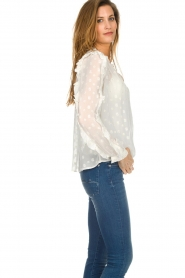 Munthe |  Dotted blouse with ruffles Annie | natural  | Picture 5