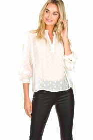 Munthe |  Dotted blouse with ruffles Annie | natural  | Picture 2