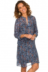 Munthe |  Dress with print Alyssa | blue  | Picture 2