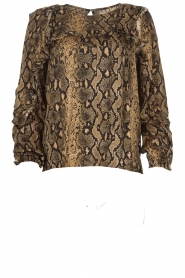 Munthe |  Blouse with snake print  Andy | black   | Picture 1