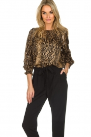 Munthe |  Blouse with snake print  Andy | black   | Picture 2