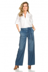 Lois Jeans |  Cotton jeans with belt Noemi | blue  | Picture 2