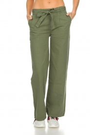 Lois Jeans |  Wide leg cotton pants Noemi | green  | Picture 2