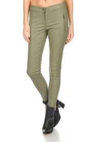 Arma |  Leather pants with zip pockets Cadiz | green  | Picture 3