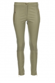 Arma |  Leather pants with zip pockets Cadiz | green  | Picture 1