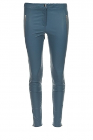 Arma |  Leather pants with zip pockets Cadiz | blue