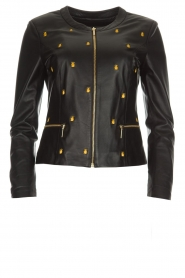 Arma |  Leather jacket with embroideries Allure | black  | Picture 1