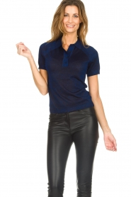 ba&sh |  Glitter polo top Lima | blue  | Picture 4