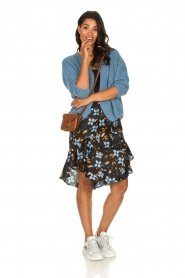 Munthe |  Floral midi skirt Dartfish | black  | Picture 3