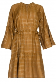 Munthe |  Dress with checkered lurex pattern Deep | camel  | Picture 1