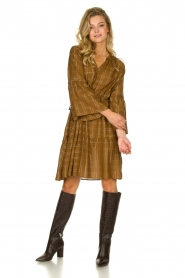 Munthe |  Dress with checkered lurex pattern Deep | camel  | Picture 3