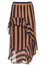 Munthe |  Striped midi skirt Dom | brown  | Picture 1
