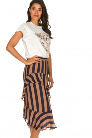 Munthe |  Striped midi skirt Dom | brown  | Picture 5